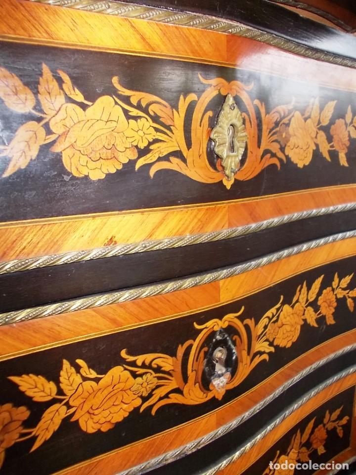 Antigüedades: Antiguo secreter sifonier frances con magnifica marqueteria y detalles bronce - Foto 3 - 165948094