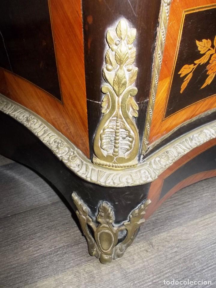 Antigüedades: Antiguo secreter sifonier frances con magnifica marqueteria y detalles bronce - Foto 5 - 165948094