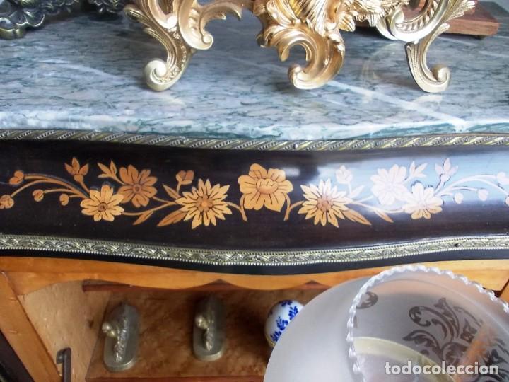 Antigüedades: Antiguo secreter sifonier frances con magnifica marqueteria y detalles bronce - Foto 9 - 165948094