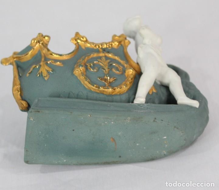 Antigüedades: Biscuit violetero fines s XIX Alemania - Foto 4 - 165949010