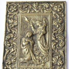 Antigüedades: PLACA DE BRONCE, ALTO RELIEVE, ANUNCIACIÓN DE LA VIRGEN, 14,5X10,5CM., 573 GRAMOS. Lote 165961490