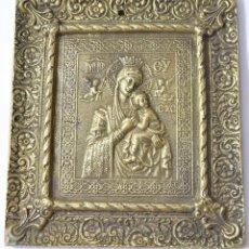Antigüedades: PLACA DE BRONCE, MEDIO RELIEVE, ICONO DE LA VIRGEN MARÍA, 11X12 CM., 500 GRAMOS. Lote 165962806