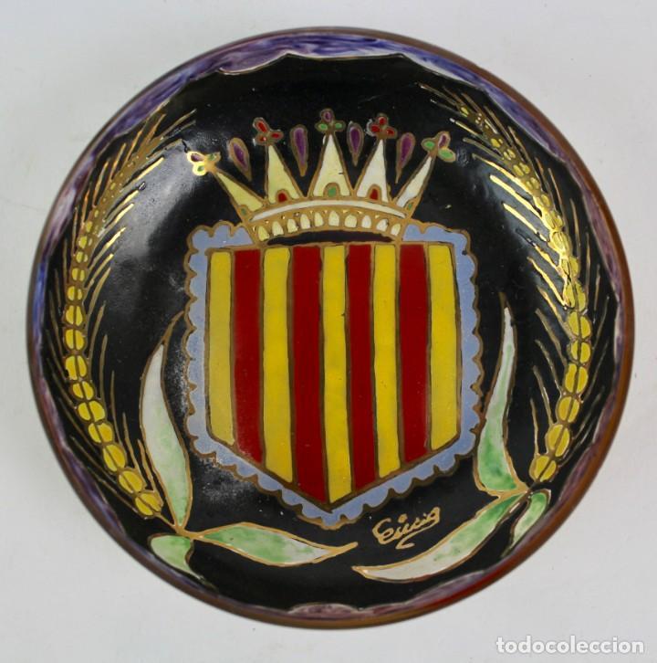 PLATO DE CRISTAL PINTADO A MANO, FIRMADO CIRERA. PRINCIPIOS S.XX. (Antigüedades - Cristal y Vidrio - Catalán)