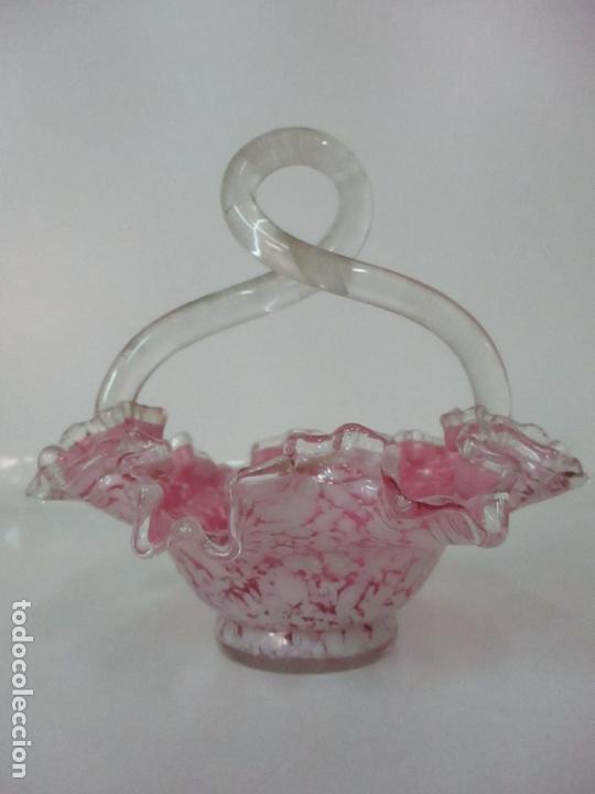 Antigüedades: Preciosa Cesta - Cristal de Murano - Cesto con Bordes Rizados - Muy Buena Calidad - Foto 2 - 172822438