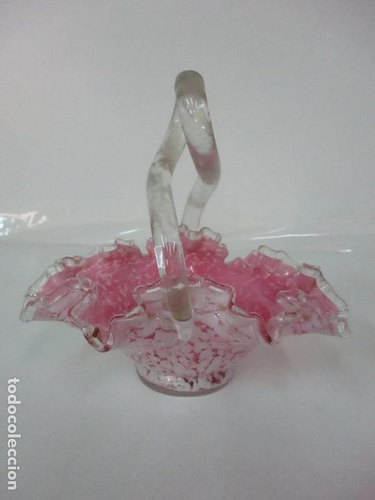 Antigüedades: Preciosa Cesta - Cristal de Murano - Cesto con Bordes Rizados - Muy Buena Calidad - Foto 3 - 172822438