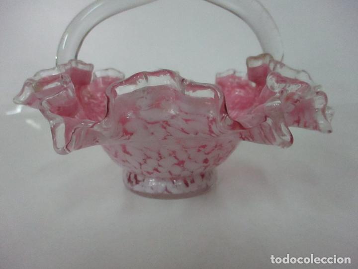 Antigüedades: Preciosa Cesta - Cristal de Murano - Cesto con Bordes Rizados - Muy Buena Calidad - Foto 4 - 172822438