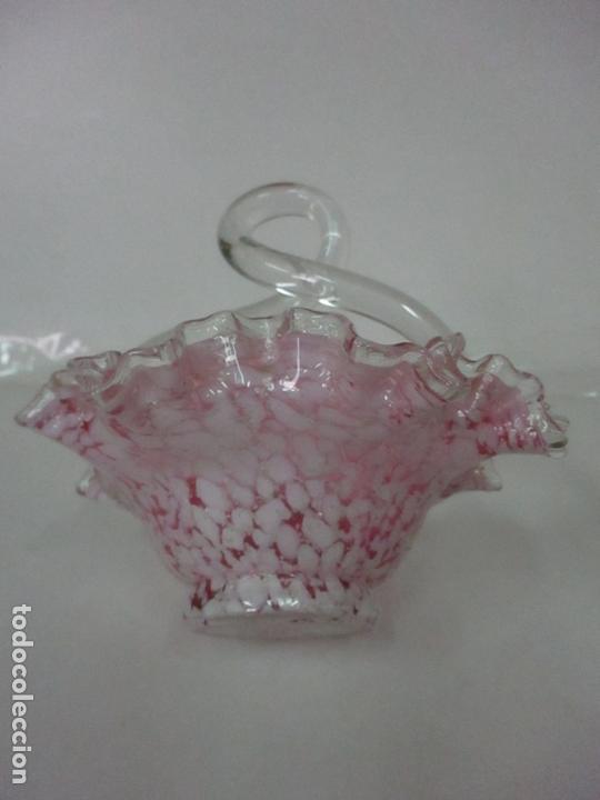 Antigüedades: Preciosa Cesta - Cristal de Murano - Cesto con Bordes Rizados - Muy Buena Calidad - Foto 11 - 172822438