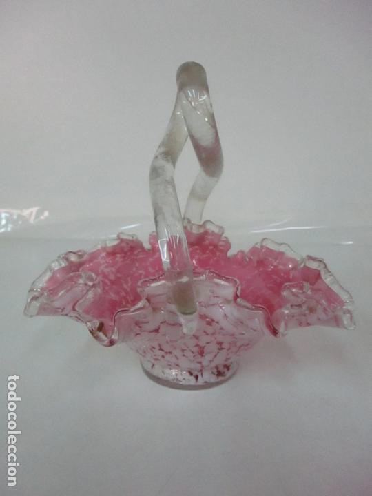Antigüedades: Preciosa Cesta - Cristal de Murano - Cesto con Bordes Rizados - Muy Buena Calidad - Foto 15 - 172822438