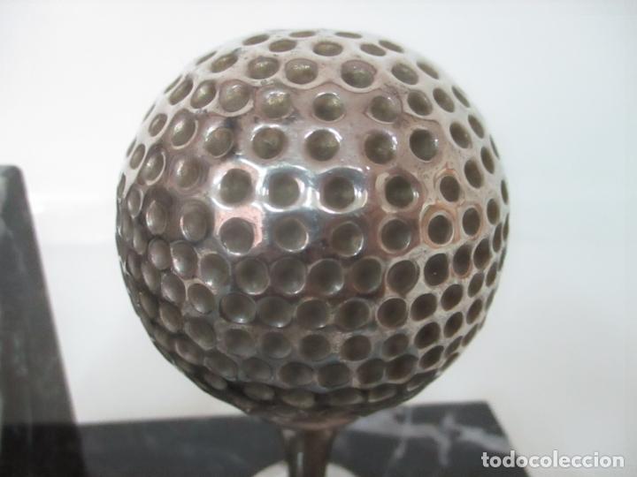 Antigüedades: Decorativo Reloj - con Bola de Golf en Plata de Ley, con Contrastes - Peana de Mármol - Foto 12 - 166013058
