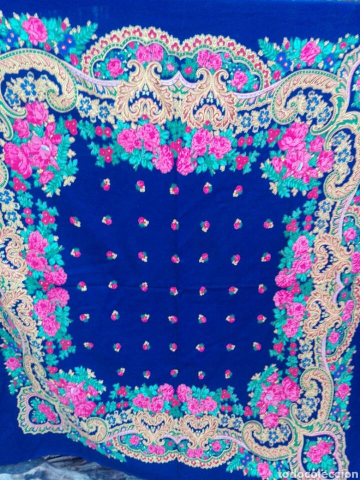 Antigüedades: Pañuelo portugués en azul, rosa y amarillo, ¡precioso!- Portugal - Foto 2 - 166028261