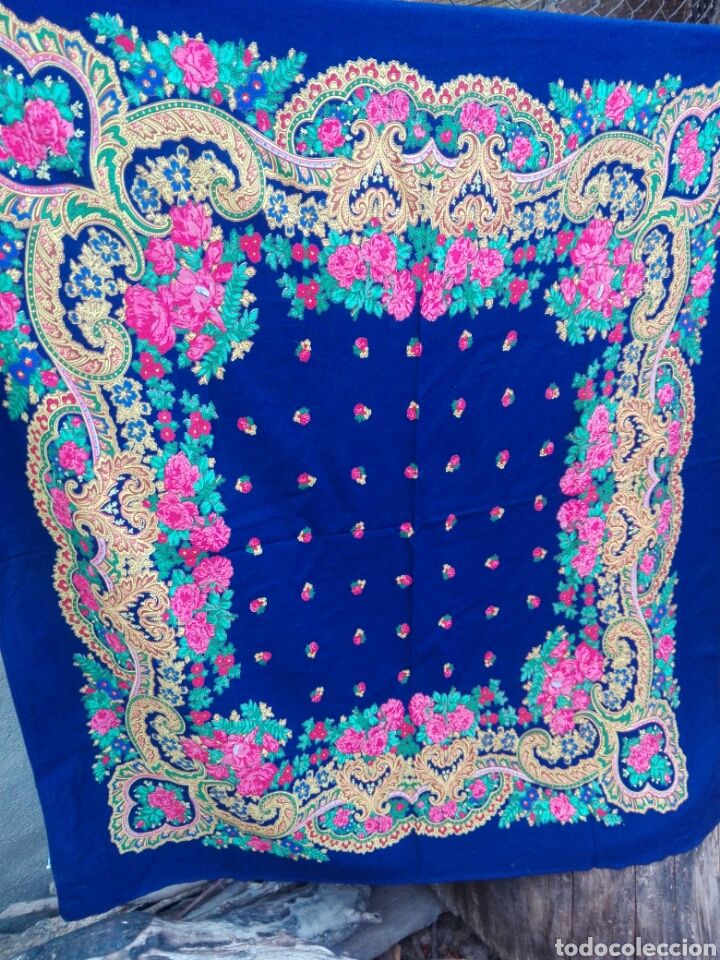 Antigüedades: Pañuelo portugués en azul, rosa y amarillo, ¡precioso!- Portugal - Foto 3 - 166028261
