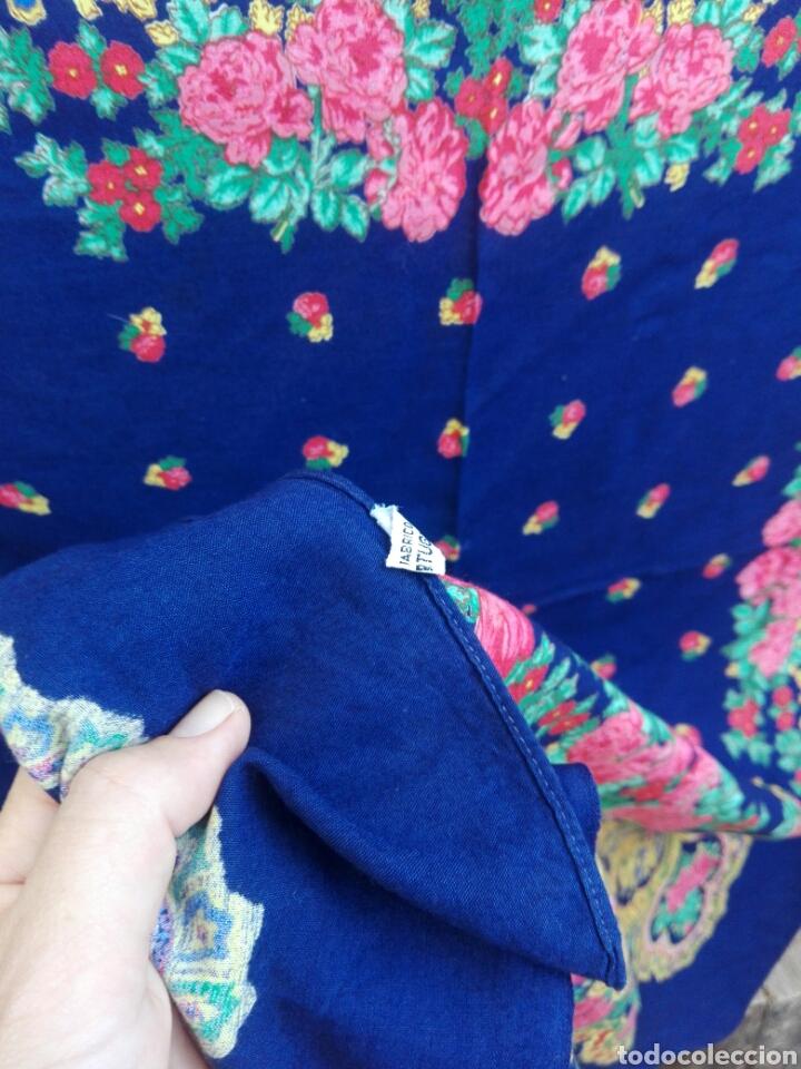 Antigüedades: Pañuelo portugués en azul, rosa y amarillo, ¡precioso!- Portugal - Foto 4 - 166028261