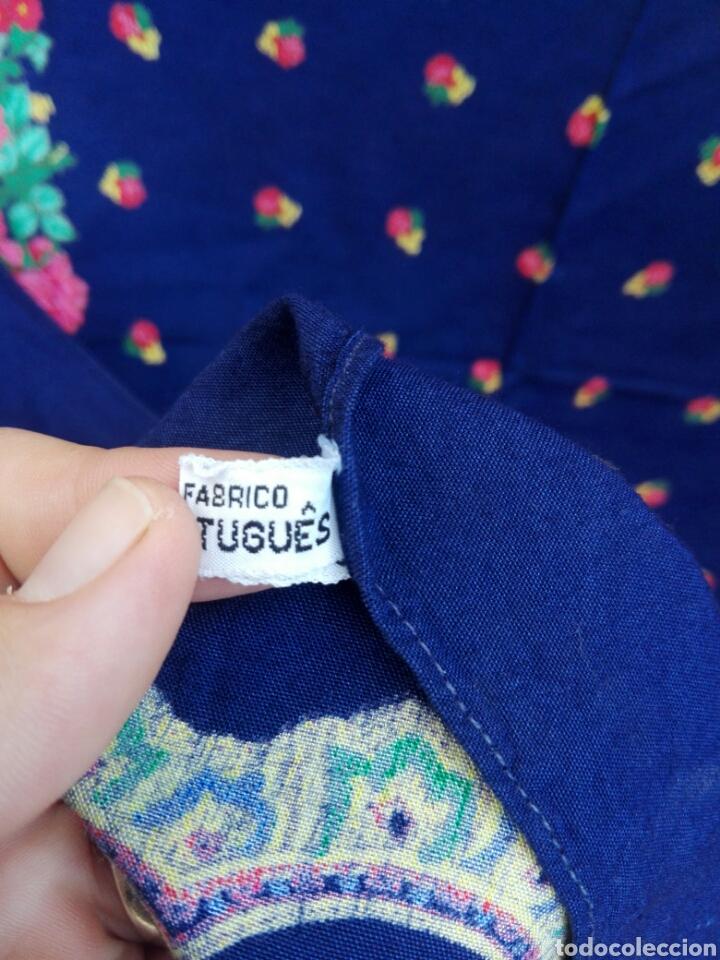 Antigüedades: Pañuelo portugués en azul, rosa y amarillo, ¡precioso!- Portugal - Foto 5 - 166028261