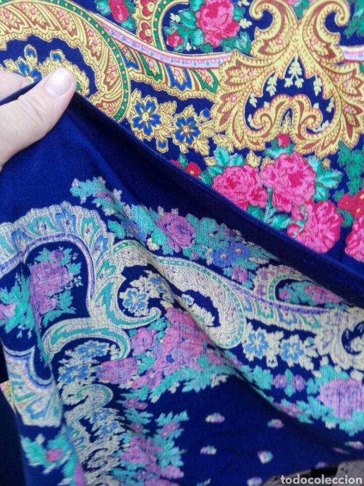 Antigüedades: Pañuelo portugués en azul, rosa y amarillo, ¡precioso!- Portugal - Foto 7 - 166028261