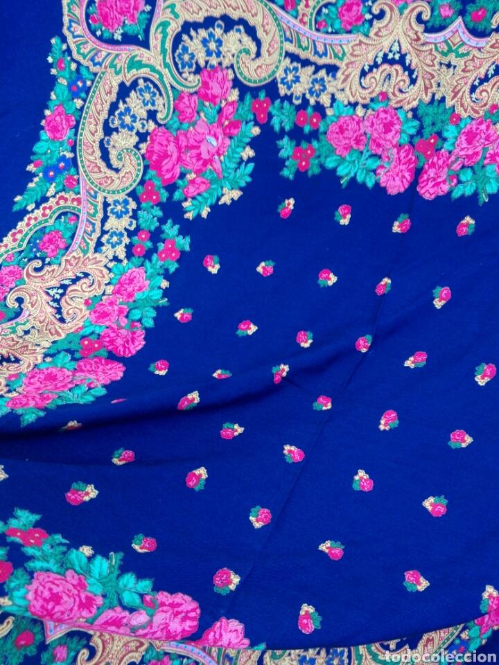 Antigüedades: Pañuelo portugués en azul, rosa y amarillo, ¡precioso!- Portugal - Foto 8 - 166028261
