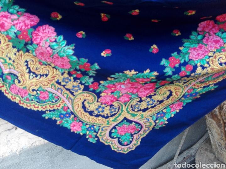 Antigüedades: Pañuelo portugués en azul, rosa y amarillo, ¡precioso!- Portugal - Foto 9 - 166028261