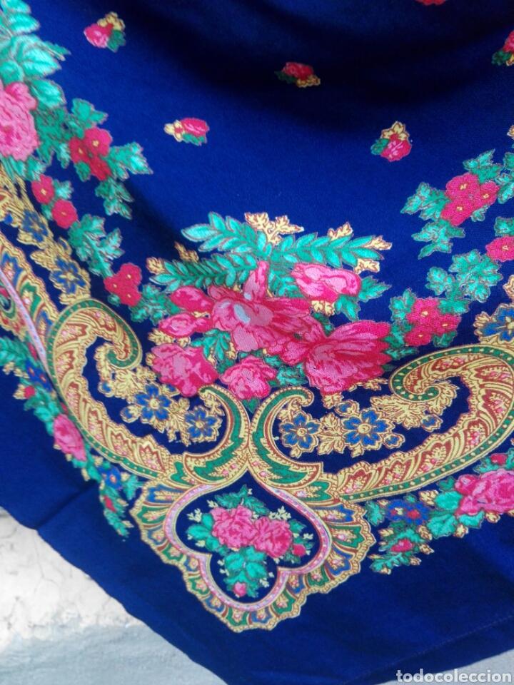 Antigüedades: Pañuelo portugués en azul, rosa y amarillo, ¡precioso!- Portugal - Foto 10 - 166028261