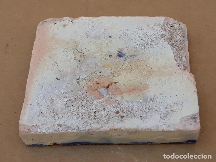 Antigüedades: AZULEJO ANTIGUO DE TALAVERA / TOLEDO - OLAMBRILLA - TECNICA LISA -SIGLO XVII. - Foto 3 - 166051758