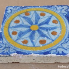 Antigüedades: AZULEJO ANTIGUO DE TALAVERA / TOLEDO - OLAMBRILLA - TECNICA LISA -SIGLO XVII.. Lote 166051758