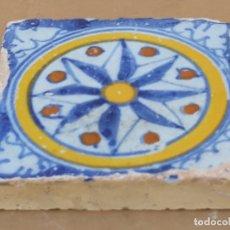 Antigüedades: AZULEJO ANTIGUO DE TALAVERA / TOLEDO -ROSA DE LOS VIENTOS - HOLAMBRILLA - TECNICA LISA -SIGLO XVII.. Lote 166052670