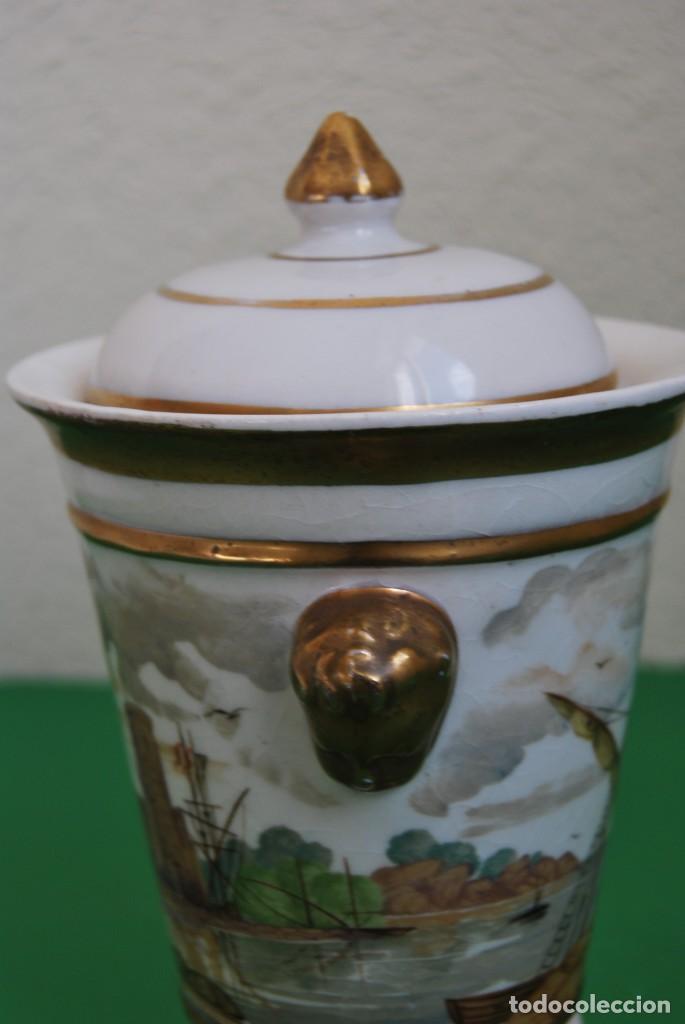 Antigüedades: EXCELENTE TIBOR DE PORCELANA - SIGLO XVIII - PATAS DE GARRA - ASAS CABEZA NIÑO - MARCA EN BASE - Foto 8 - 166094738