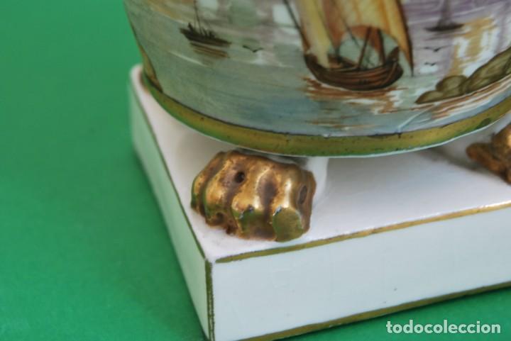 Antigüedades: EXCELENTE TIBOR DE PORCELANA - SIGLO XVIII - PATAS DE GARRA - ASAS CABEZA NIÑO - MARCA EN BASE - Foto 16 - 166094738