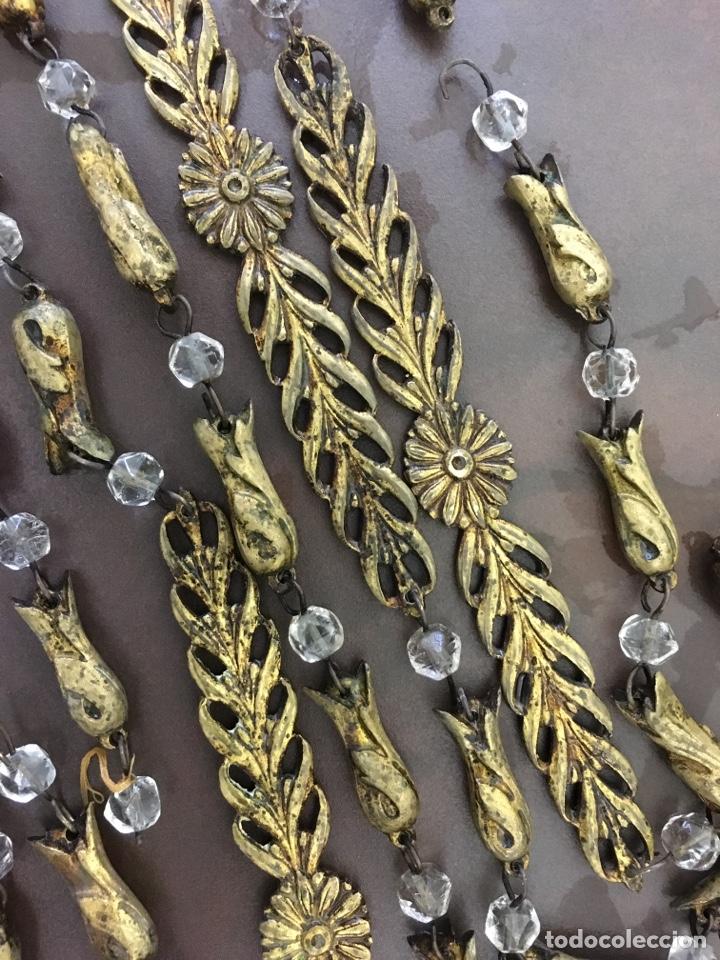 Antigüedades: Cadena para lámpara antigua bronce macizo y cristal, completa, alambrillos partidos y 2,7 metro - Foto 3 - 166109437