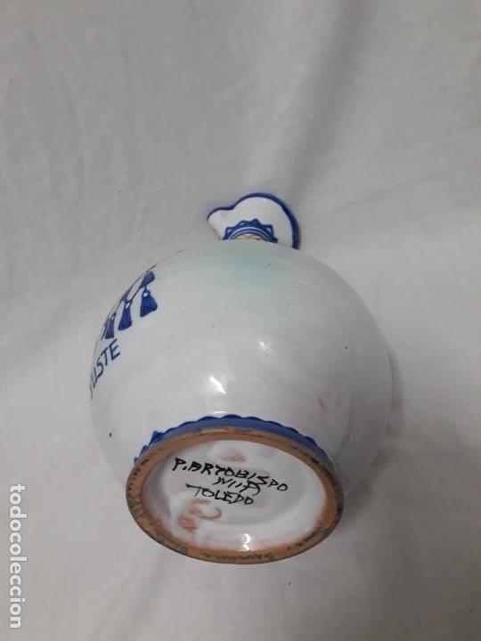 Antigüedades: Antiguo bello jarrón cerámica Puente del Arzobispo Yuste - Foto 6 - 166123662
