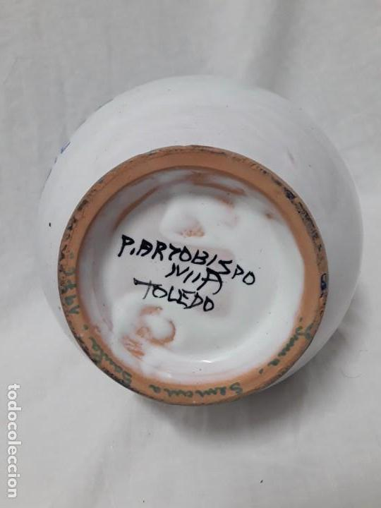 Antigüedades: Antiguo bello jarrón cerámica Puente del Arzobispo Yuste - Foto 7 - 166123662