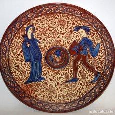 Antigüedades: SENSACIONAL CENTRO EN CERAMICA VALENCIANA DE REFLEJOS. APROXIMADAMENTE 1900. BUEN ESTADO. Lote 166137802