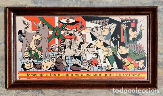 Antigüedades: AZULEJO - HOMENAJE A LOS ESPAÑOLES ASESINADOS POR EL TERRORISMO - GUERNICA - PIEZA ENMARCADA - Foto 2 - 166162722