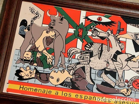 Antigüedades: AZULEJO - HOMENAJE A LOS ESPAÑOLES ASESINADOS POR EL TERRORISMO - GUERNICA - PIEZA ENMARCADA - Foto 4 - 166162722