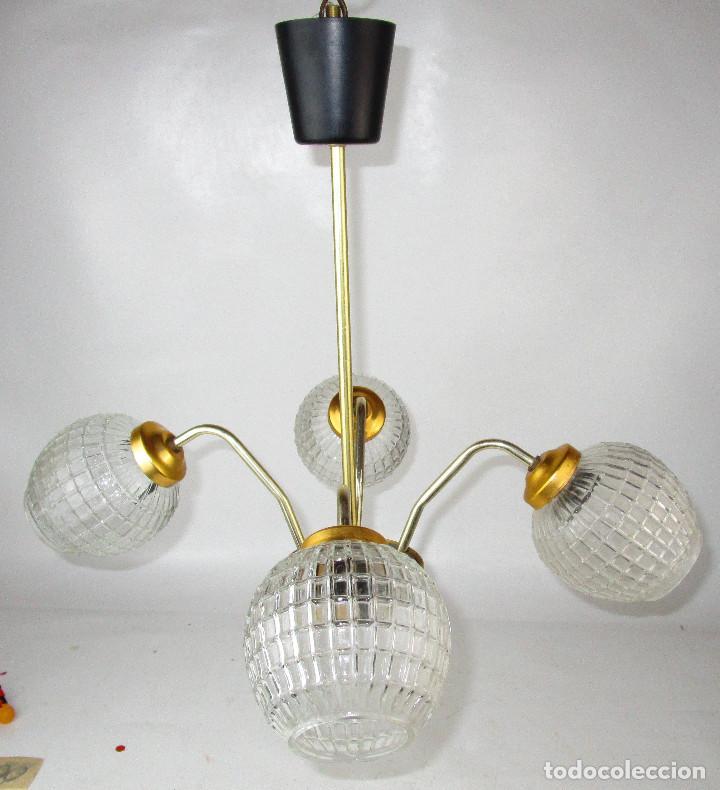 PRECIOSA LAMPARA MIDCENTURY DISEÑO NORDICO, ALUMINIO ANONIZADO, LATON CRISTAL (Antigüedades - Iluminación - Lámparas Antiguas)