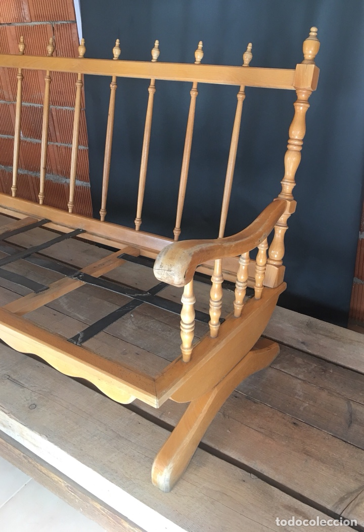 Antigüedades: Preciosa sofa madera para restaurar -(19158) - Foto 2 - 166207368