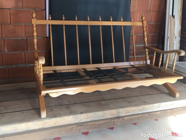 Antigüedades: Preciosa sofa madera para restaurar -(19158) - Foto 3 - 166207368