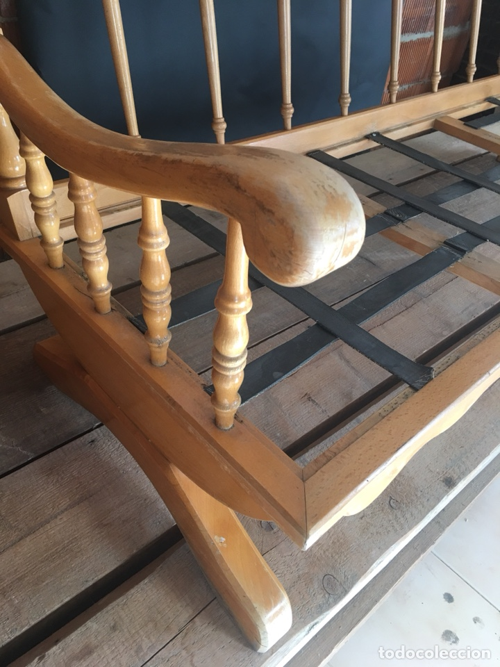 Antigüedades: Preciosa sofa madera para restaurar -(19158) - Foto 4 - 166207368