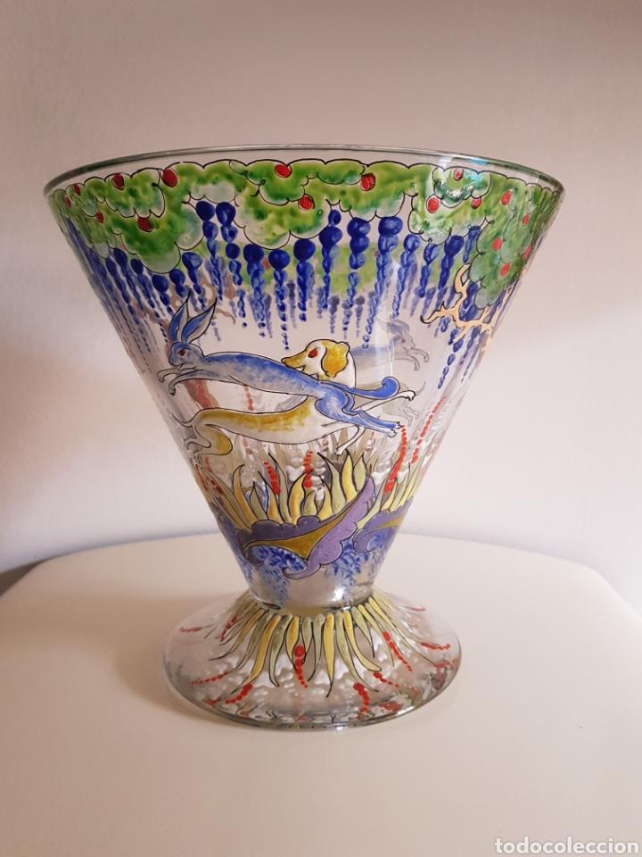 ESPECTACULAR JARRÓN AL ESMALTE GENIS CIRERA JOSE ROYO CIRE (Antigüedades - Cristal y Vidrio - Catalán)