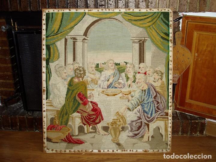 TAPIZ ANTIGUO LA SAGRADA CENA (Antigüedades - Hogar y Decoración - Tapices Antiguos)