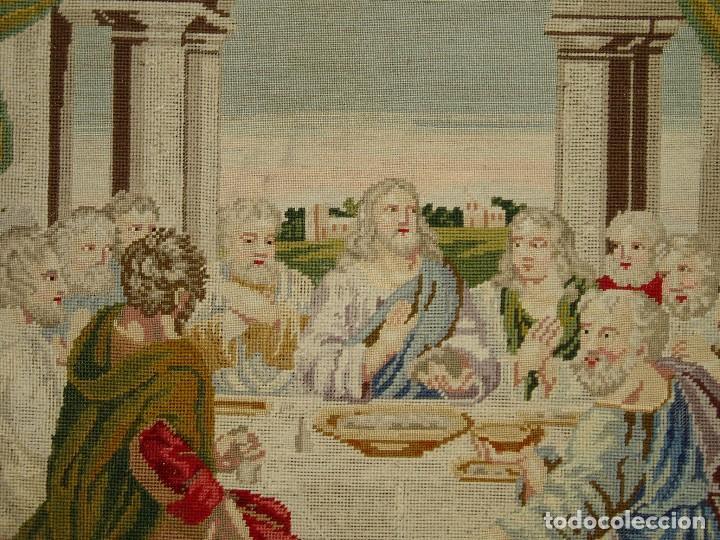 Antigüedades: Tapiz antiguo La Sagrada Cena - Foto 3 - 166261650