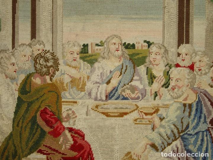 Antigüedades: Tapiz antiguo La Sagrada Cena - Foto 4 - 166261650