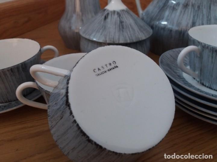 Antigüedades: Juego de café. Castro. Sargadelos. Galicia. Sello Dolmen. Porcelana fina. Pintada a mano. - Foto 2 - 166266526