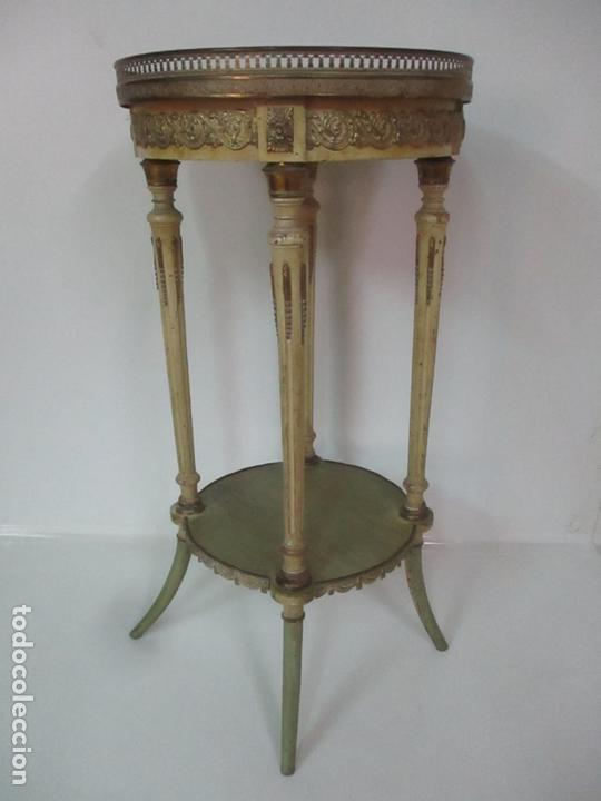 Antigüedades: Curiosa Mesa de Centro - Art Deco - Madera Policromada - Decoraciones en Bronce - Años 20 - Foto 2 - 166301922