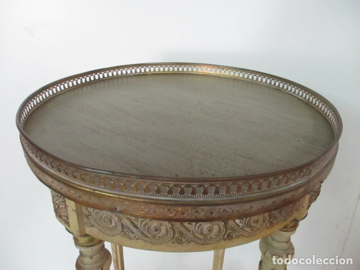 Antigüedades: Curiosa Mesa de Centro - Art Deco - Madera Policromada - Decoraciones en Bronce - Años 20 - Foto 14 - 166301922