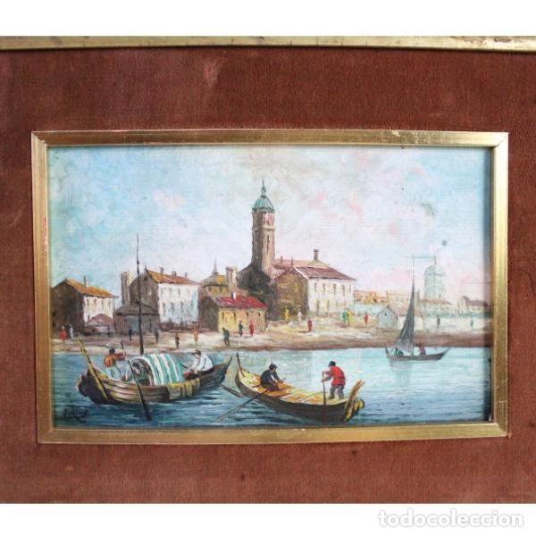 Antigüedades: Antiguo cuadro realizado con técnica de óleo sobre tabla - Foto 2 - 166310606