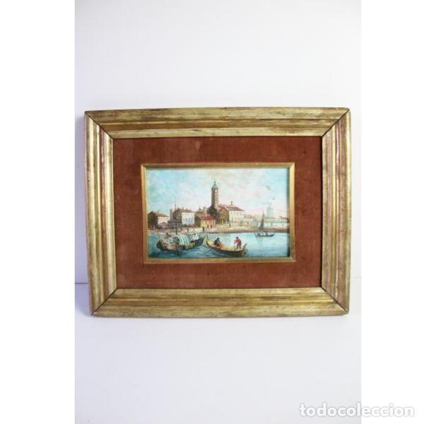 Antigüedades: Antiguo cuadro realizado con técnica de óleo sobre tabla - Foto 3 - 166310606