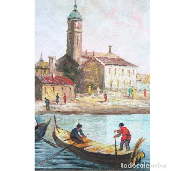 Antigüedades: Antiguo cuadro realizado con técnica de óleo sobre tabla - Foto 6 - 166310606