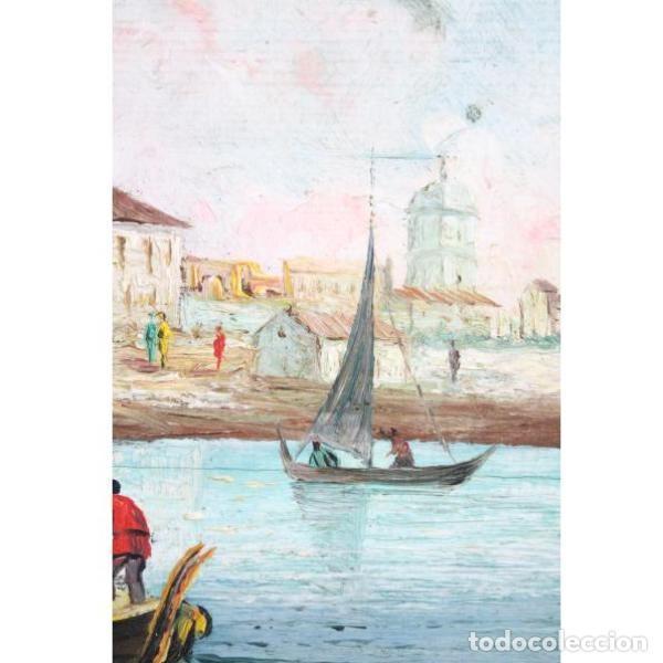 Antigüedades: Antiguo cuadro realizado con técnica de óleo sobre tabla - Foto 7 - 166310606