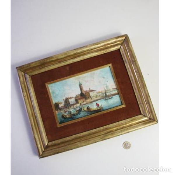 Antigüedades: Antiguo cuadro realizado con técnica de óleo sobre tabla - Foto 9 - 166310606
