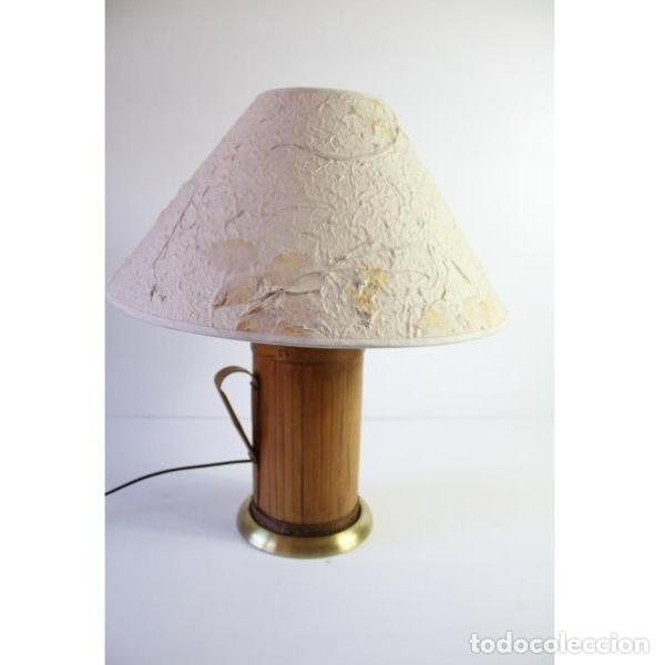 ANTIGUA LÁMPARA DE MESA DE BAMBÚ (Antigüedades - Iluminación - Lámparas Antiguas)
