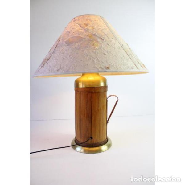 Antigüedades: Antigua lámpara de mesa de bambú - Foto 8 - 166311958